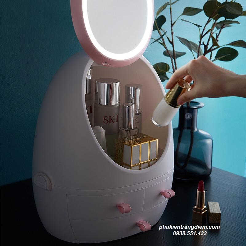 hộp đựng mỹ phẩm trang điểm có gương đèn led
