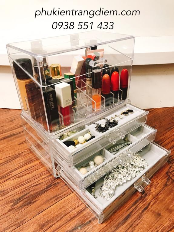 kệ hộp đựng phụ kiên trang sức mỹ phẩm trang điểm nhiều ngăn