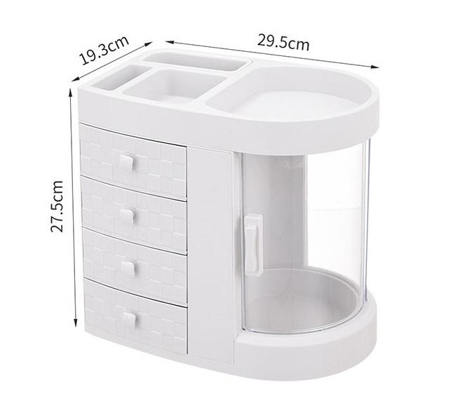 khay kệ trang điểm nhiều ngăn có cửa chống bụi