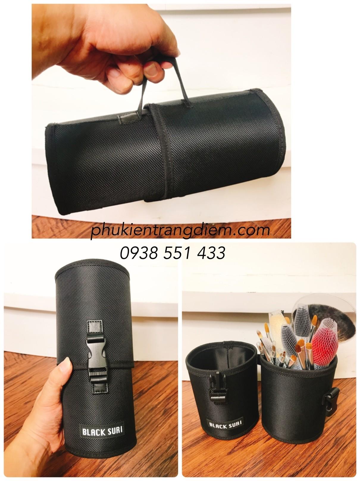 bán hộp ống đựng cọ trang điểm bằng vải cao cấp
