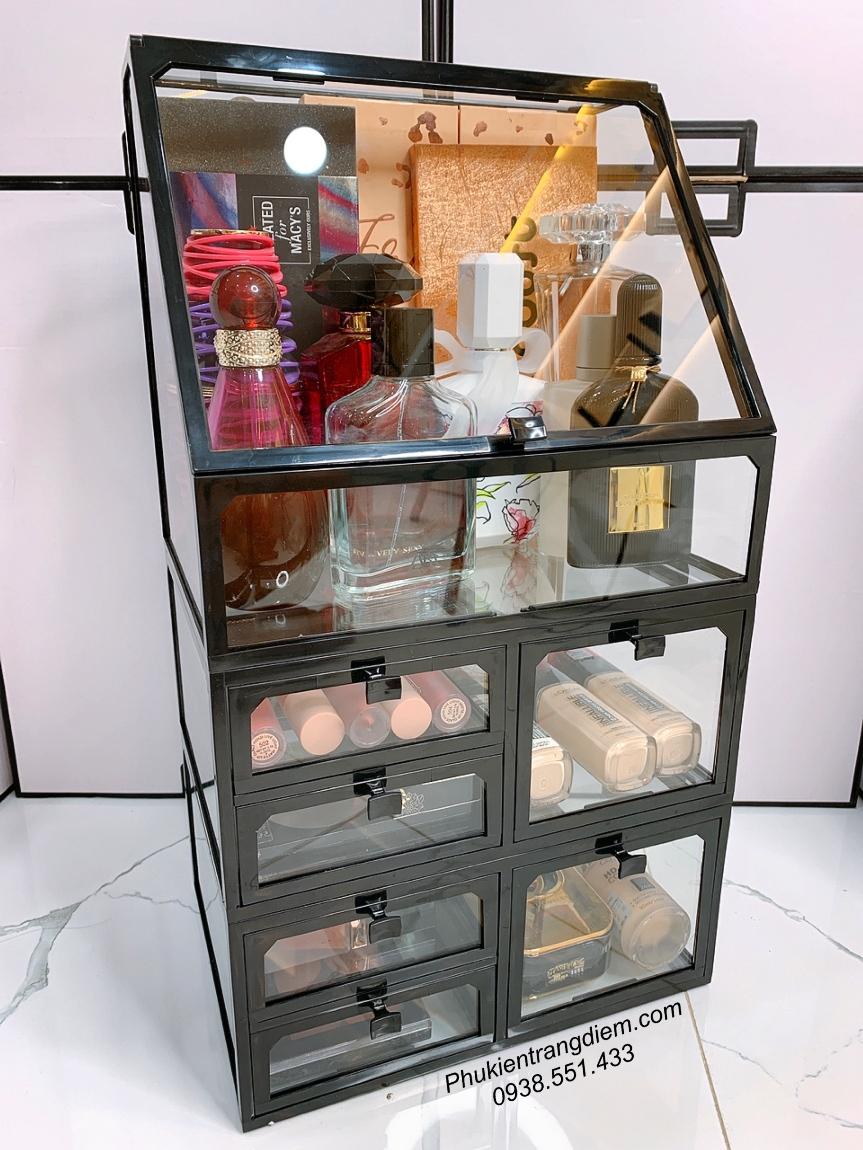tủ kệ trang điểm để bàn 3 tầng 6 ngăn kéo có nắp đậy sang trọng