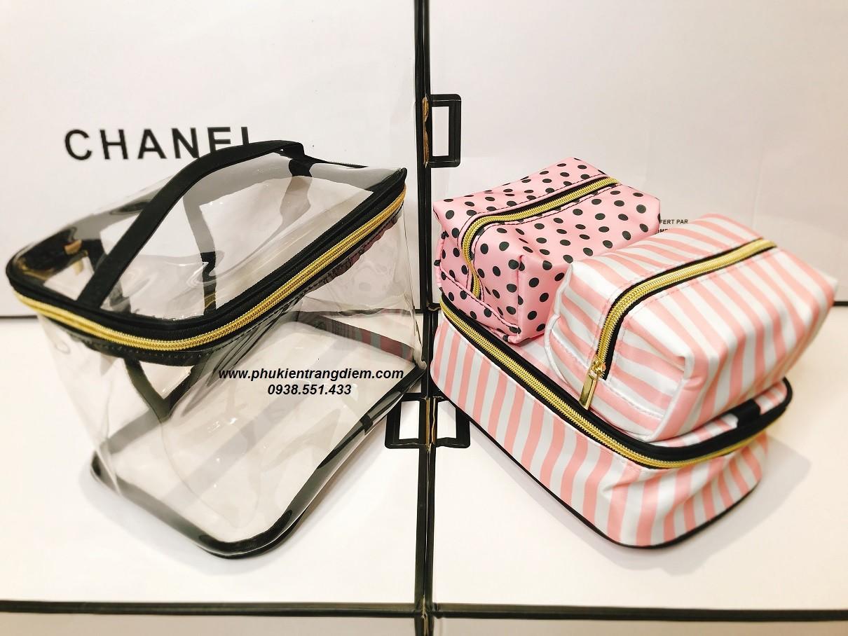 bộ 4 túi đựng mỹ phẩm trang điểm cá nhân trong suốt