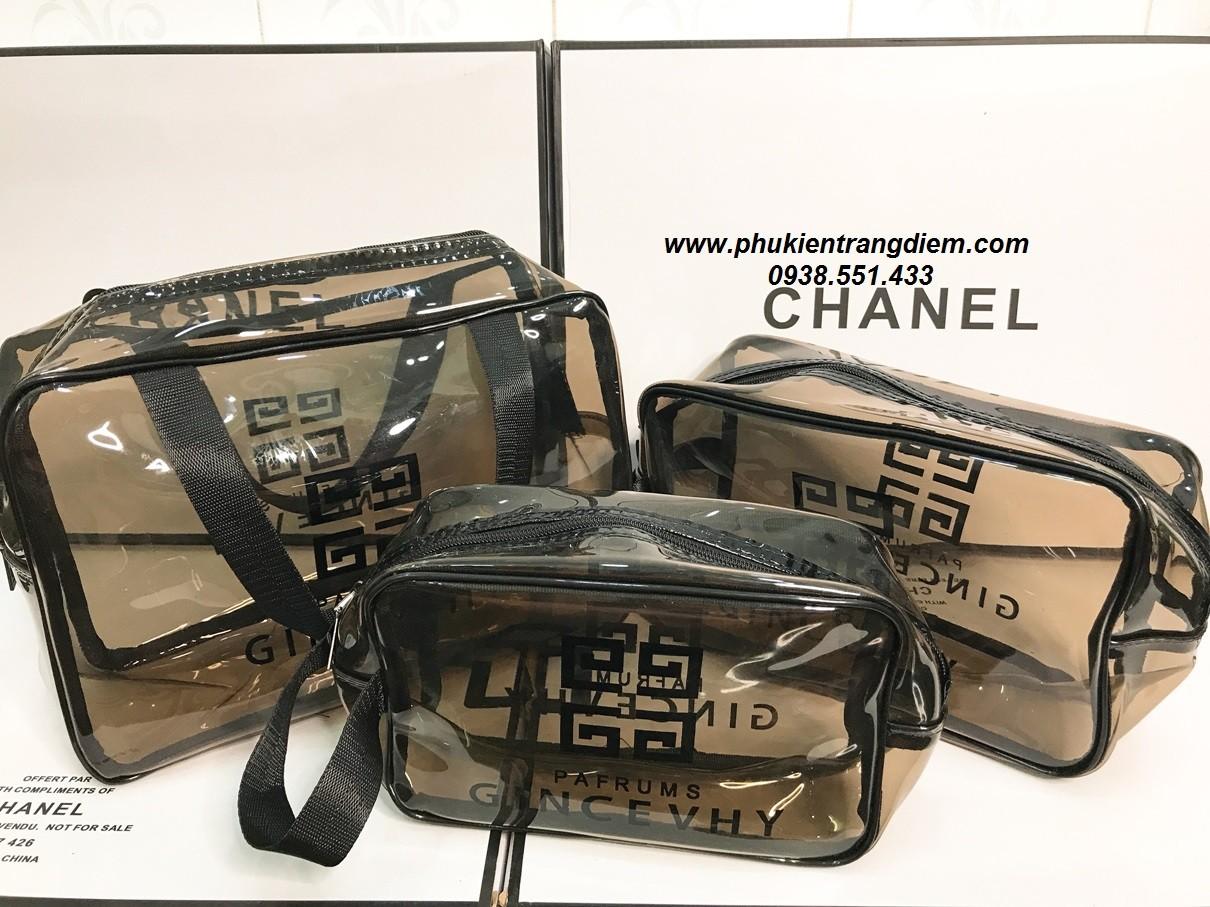 bộ túi bóp trang điểm trong suốt đựng mỹ phẩm cá nhân cao cấp